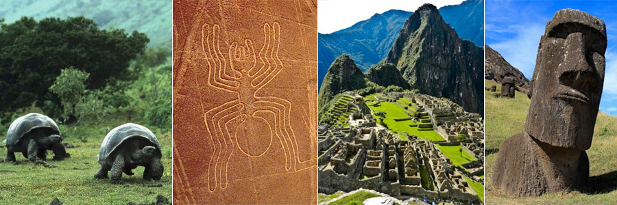 galapagos islands, nazca lines, machu picchu, easter island